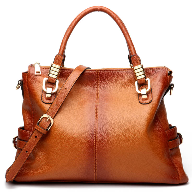 100% Genuine Leather Gradient Spray Women Tote Handbag Retro Brown Large Capacity Lady Shoulder Bags High Quality Big Bag