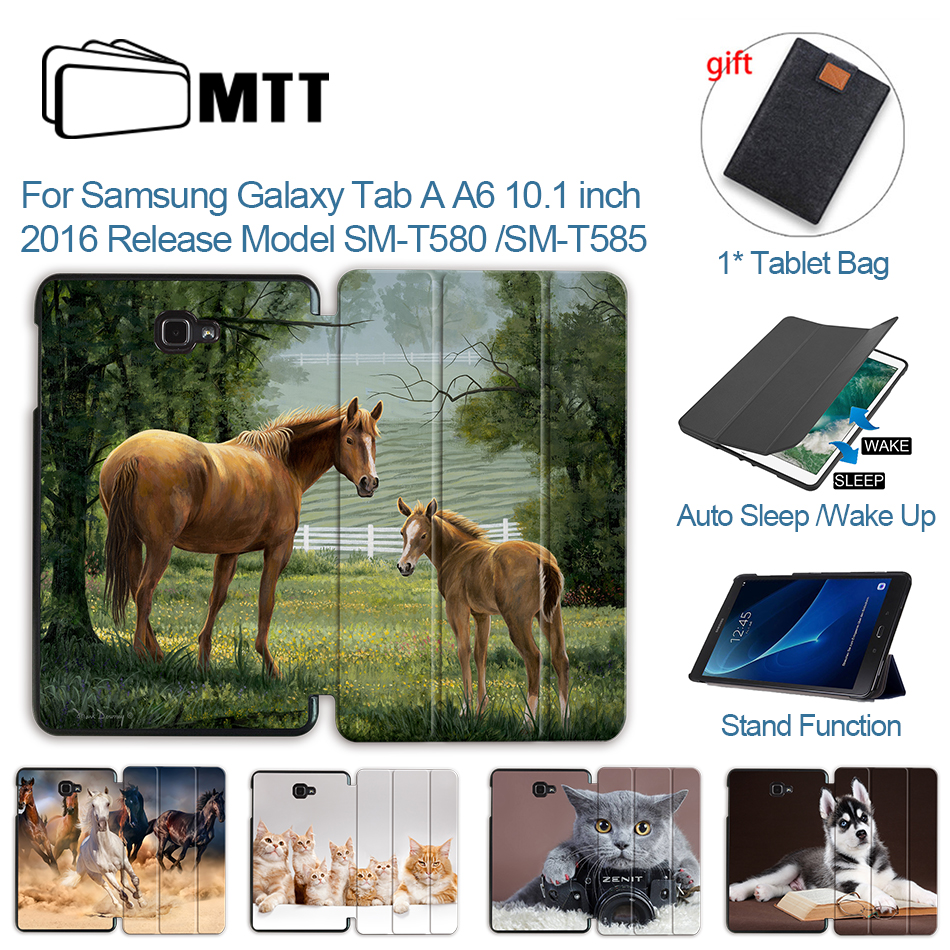 MTT PU Leather Case For <font><b>Samsung</b></font> <font><b>Galaxy</b></font> <font><b>Tab</b></font> <font><b>A</b></font> A6 <font><b>10.1</b></font> inch SM-<font><b>T580</b></font> T585 Tri-Fold Flip Stand Smart <font><b>Tablet</b></font> Cover Protective <font><b>funda</b></font> image