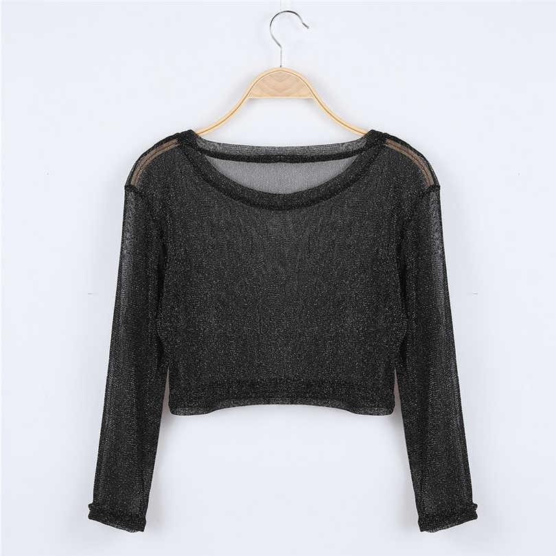 ฤดูใบไม้ร่วงตาข่ายผู้หญิงเซ็กซี่ Slim เสื้อยืด O-Neck เสื้อแขนยาว Crop Top เสื้อผ้าหญิง Harajuku เสื้อ Streetwear เสื้อ camisa femenina A20