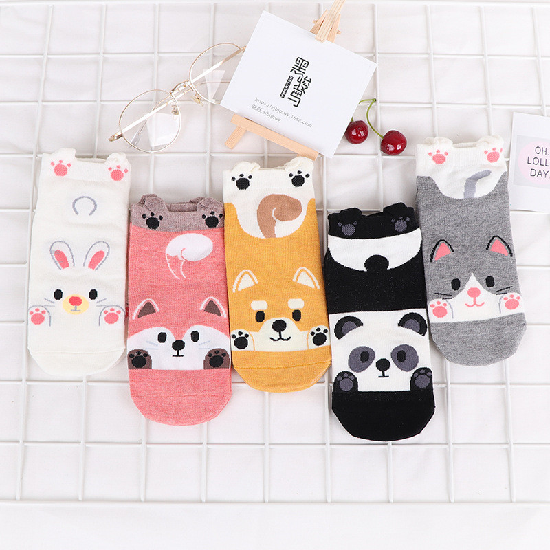 Autumn Winter Fashion Animal Women Cotton Socks Panda Fox Rabbit Dog Korea Harajuku Kawaii Cute Girls Casual Happy Funny Socks