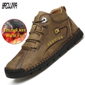 Fashion Winter Men's Boots Plush Warm Snow Handmade Men Ankle Outdoor Waterproof Work Autumn Shoes - discount item  30% OFF Men's Shoes