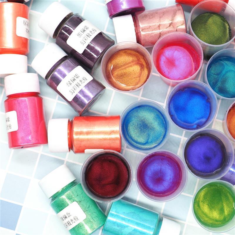 10グラムカメレオンエポキシ樹脂顔料シンフォニーオーロラ着色剤粉末とミニブラシ真珠光沢パール顔料diyのネイルアート