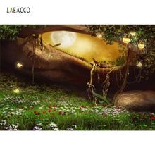 Laeacco Fairytale Dreamy Green Grass Tree Cave Ladder Shiny Butterfly Flowers Baby Scenic Photo Backgrounds Photography Backdrop