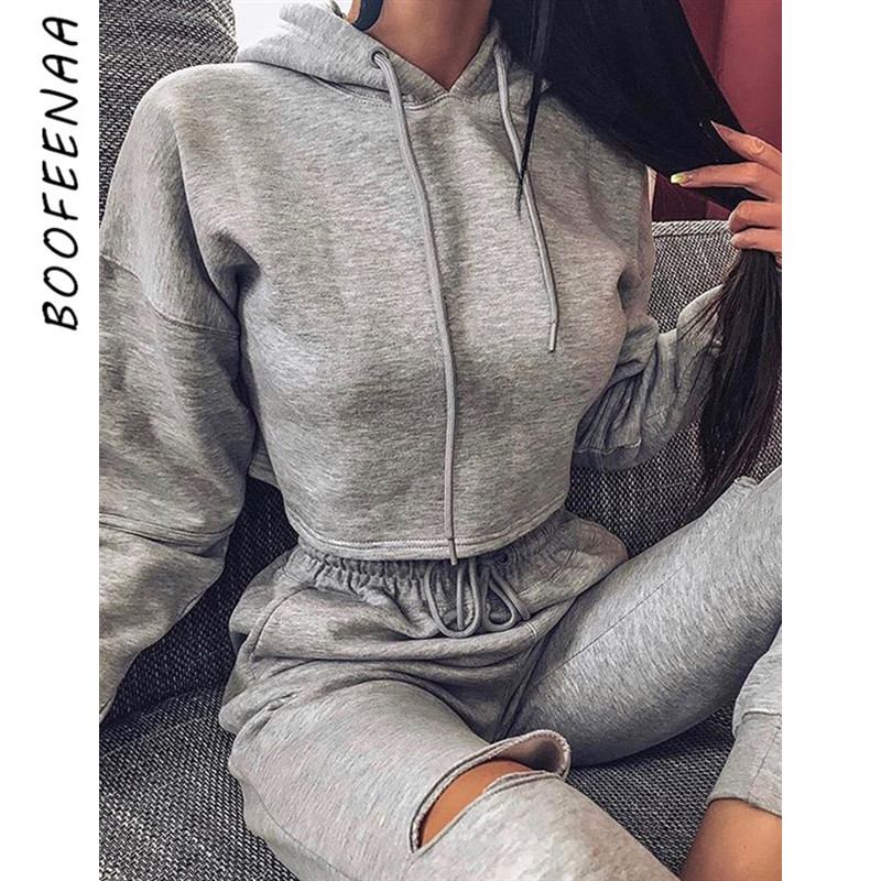 BOOFEENAA Casual Tracksuit For Women Two Piece Set Top And Hole Pants Hoodie Jogger Sweat Suits Fall Winter Outfits C54-AH19