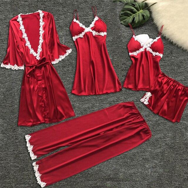 섹시한 여자의 가운 및 가운 세트 레이스 목욕 가운 + 나이트 드레스 5 5 조각 잠옷 여자 수면 세트 가짜 실크 가운 Femme NO.337