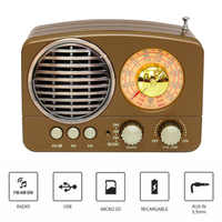 M-161BT Audio Bluetooth Speaker Radio ABS Retro Durable Home USB Rechargeable AM FM SW Portable Multifunction Gift TF Card Slot