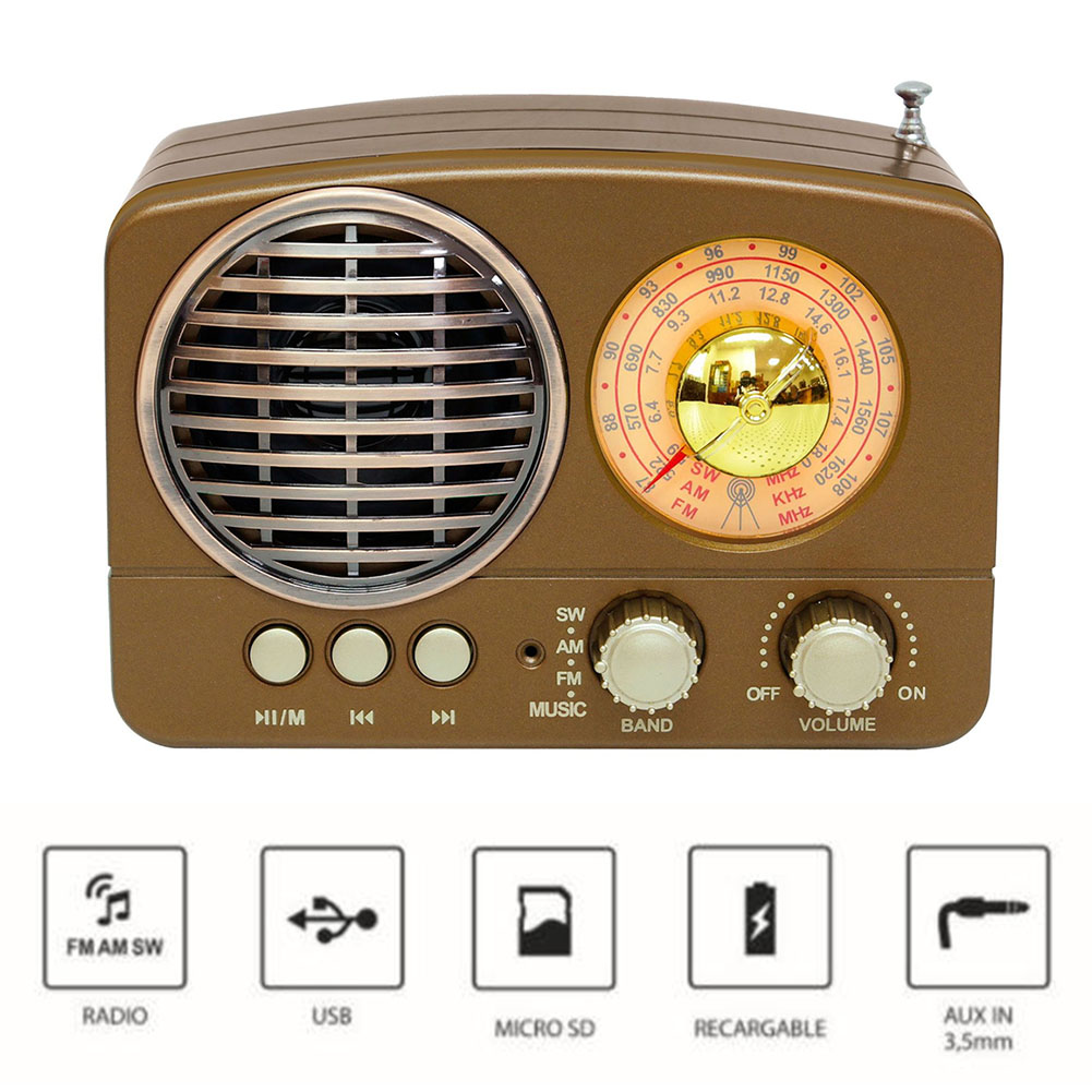 M-161BT Audio Bluetooth haut-parleur Radio ABS rétro Durable maison USB Rechargeable AM FM SW Portable multifonction cadeau TF carte fente