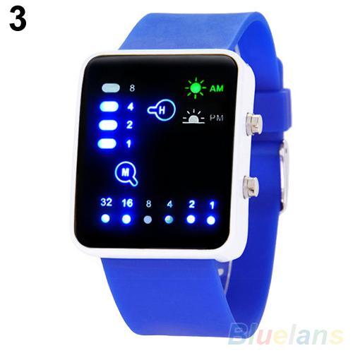 Sport LED Digital Watches Women Men Fashion Unisex Binary System LED Square Dial Silicone Band Quartz Wrist Watch для влюбленных