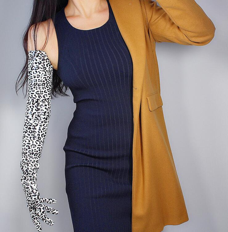 Women's Runway Fashion Sexy Faux Pu Leather Leopard Glove Lady's Club Performance Formal Party Leather Long Glove 70cm R2676
