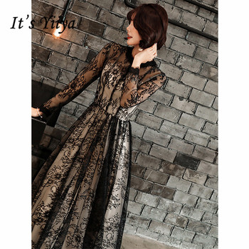 Its Yiiya Evening Dress 2019 Black Lace Embroidery A-Line Floor Length Dresses Elegant Long Sleeve Illusion Formal Dreses E1326