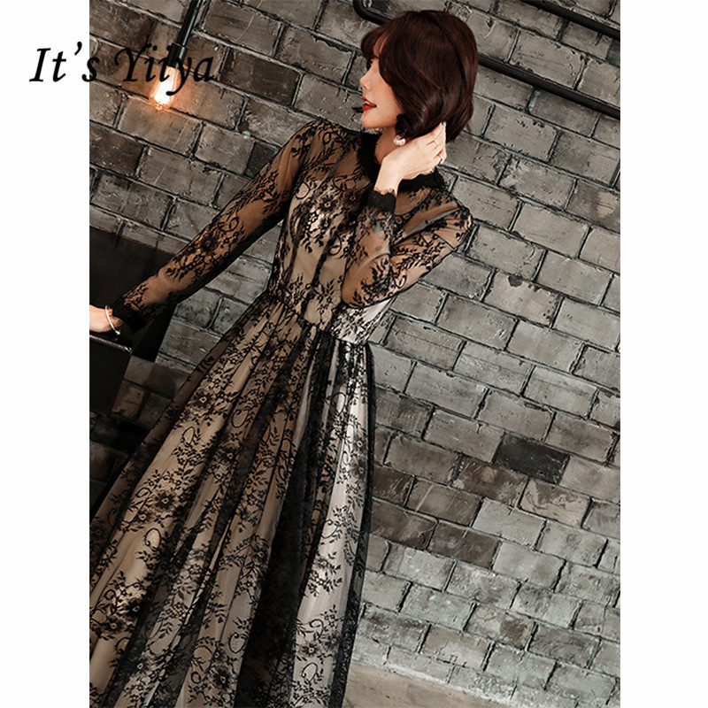 It's Yiiya   Evening     Dress   2019 Black Lace Embroidery A-Line Floor Length   Dresses   Elegant Long Sleeve Illusion Formal Dreses E1326
