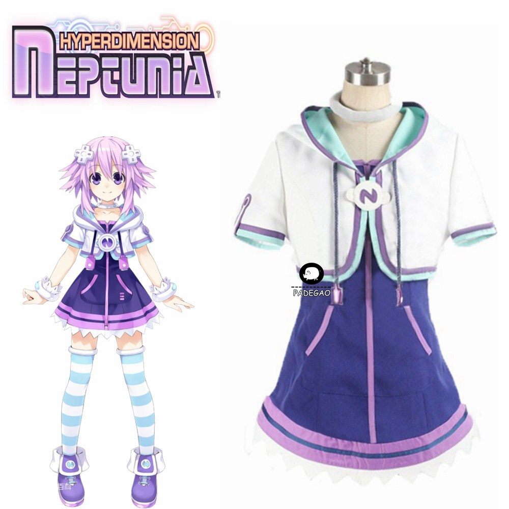 Hyperdimension Neptunia Neptune Cosplay Costume Halloween Uniform Outfit Coat+Skirt+Nekc+Socks+hair Accessory Custom-made