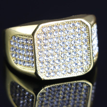 Luxury Gold Iced Out Rings for Men Geometry Square Bling Bling Rhinestone Zircon Rings Hip Hop Jewelry Accessories