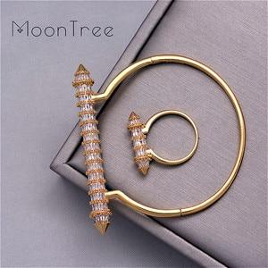 Image 4 - MoonTree New Arrive Luxury Nail Shape Super Shing Full AAA Cubic Zriconia Wedding Saudi Arabic Dubai Bangle Ring Set For Women