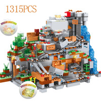 1315PCS My World Building Blocks Compatible Legoinglys Minecrafted Mountain Cave Figures Module Bricks Toys For Children