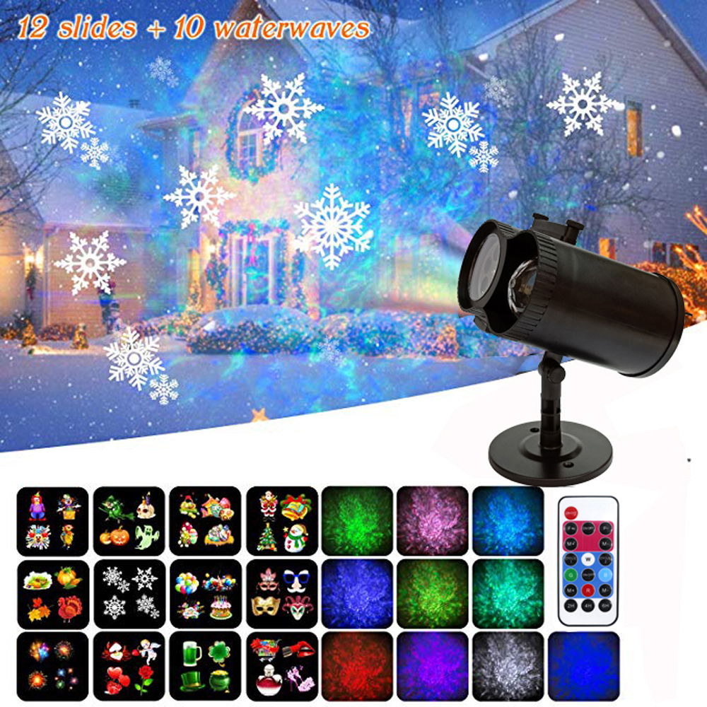 LED Laser Projector Lamps Waterproof AC85-240V 12 Patterns 10 Water Wave Christmas Lights Outdoor