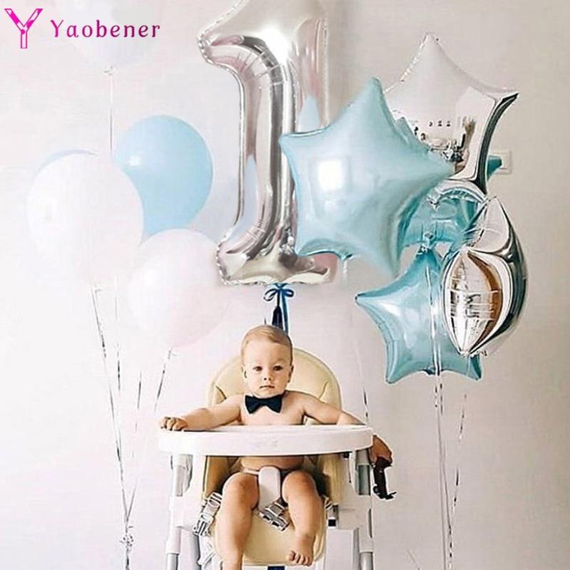 1-й День рождения серебряные синие воздушные шары из фольги в виде цифр первые вечерние украшения для маленьких мальчиков и девочек мой 1 год...