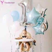 1er Feliz cumpleaños plata azul láminas con números para Globos primer bebé niña decoraciones de fiesta mi 1 año Globos suministros Globos