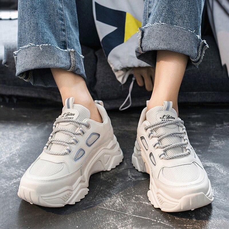 Женские кроссовки на платформе; Женские кроссовки на плоской подошве; Женские кроссовки на толстой подошве; Модная женская спортивная обув...