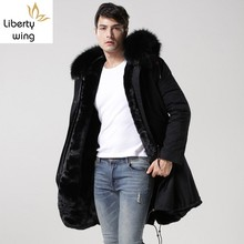 New Black Real Collar Hooded Mens Parka Thicken Warm Fur Lin