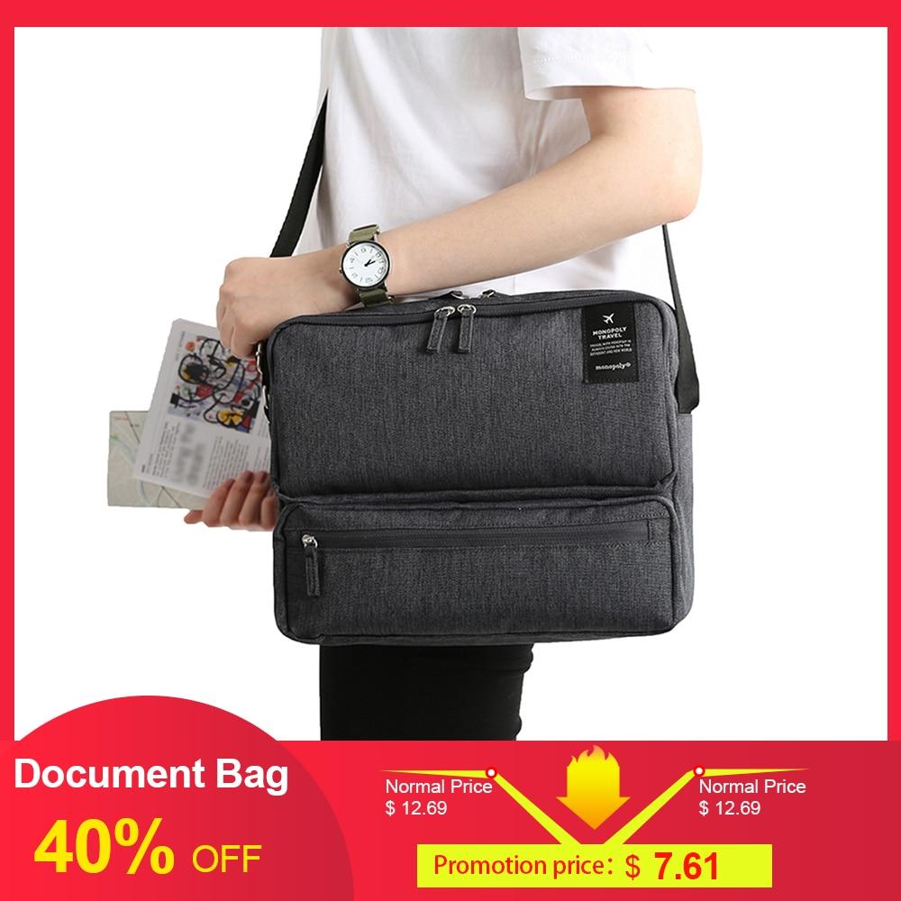 Travel Document Organizer Bag Passport Portfolio Storage Holder Shoulder Bag Business Messenger Briefcase Men Women City Bag