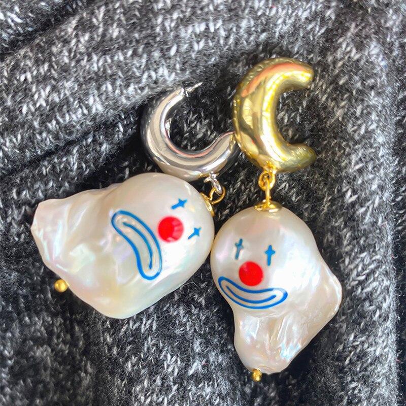 2020 New Fashion Punk Clown Face Pearl Earrings Special Shaped Earrings For Women Girl Jewlery