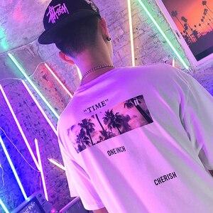 Image 5 - Aelfric Eden Hip Hop Streetwear Shirt Mannen 2020 Zomer Tijd Vliegt Print Korte Mouw Hawaiian Tops Tees Man Katoenen T shirts zwart