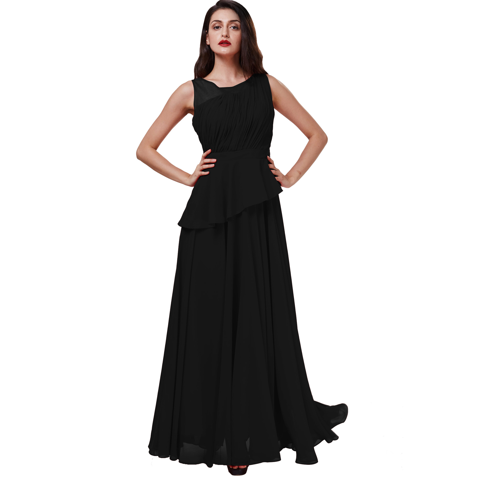 Dressv scoop long evening dress red sleeveless a line floor length dresses women black chiffon draped formal prom evening dress