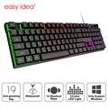 Игровая клавиатура Gamer Механическая имитация клавиатуры игровая RGB клавиатура с подсветкой эргономичная клавишная панель 104 Keycaps для ПК