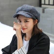 Женская кепка газетчика клетчатая фетровая шапка Повседневная