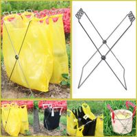 Trash Basket Folding Portable Stainless Steel Outdoor Camping Picnic Plastic Bag Holder Stand Rack outdoor tools|Outdoor Tools| |  -