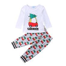 Рождественская одежда для маленьких мальчиков и девочек, футболка Топы+ длинные штаны с мультяшным автомобилем, комплект одежды