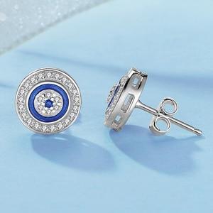 Image 5 - KALETINE Turkey CZ Evil Eye 925 Sterling Silver Jewellery Sets for Women Blue Round Pendant Necklace Ring Stud Earrings Wedding
