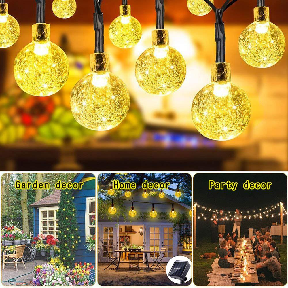 50 LED 10m Crystal Ball Solar Light Outdoor Garden Waterproof String Fairy Lamps Garlands For Christmas Wedding Party Decor
