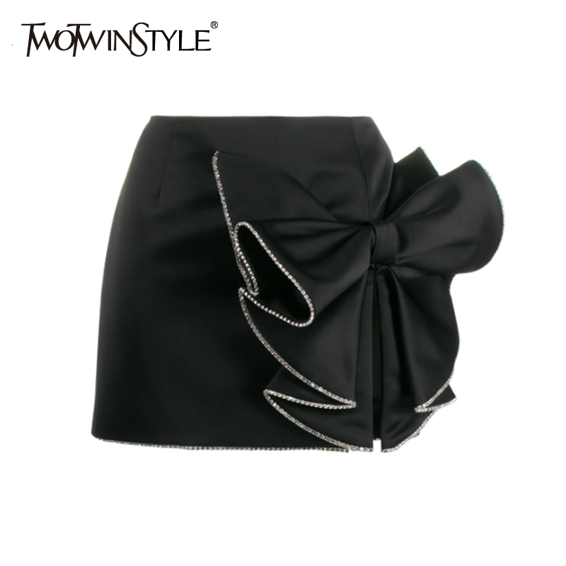 TWOTWINSTYLE Casual Asymmetrical Women's Skirts High Waist Patchwork Bow Split Ruched Skirt For Female Clothing 2020 Fashion New