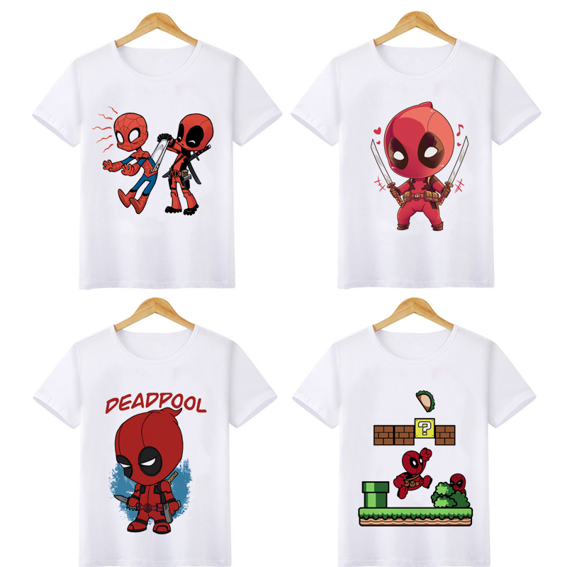 Children Deadpool Funny Cartoon T Shirt Boys O Neck Summer T-shirt Casual Graphic Fashion Tshirt Streetwear Top Tees for Kids image