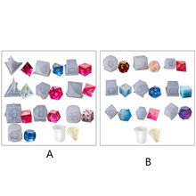 N58F DIY Crystal Epoxy Mold Dice Fillet Shape Multi-spec Digital Game High Mirror dice mold silicone Mould Making(Style B)