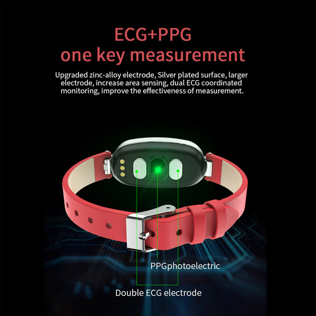 Ppg ECG montre intelligente femmes fitness tracker fréquence cardiaque moniteur de pression artérielle étanche smartwatch pour IPhone Android