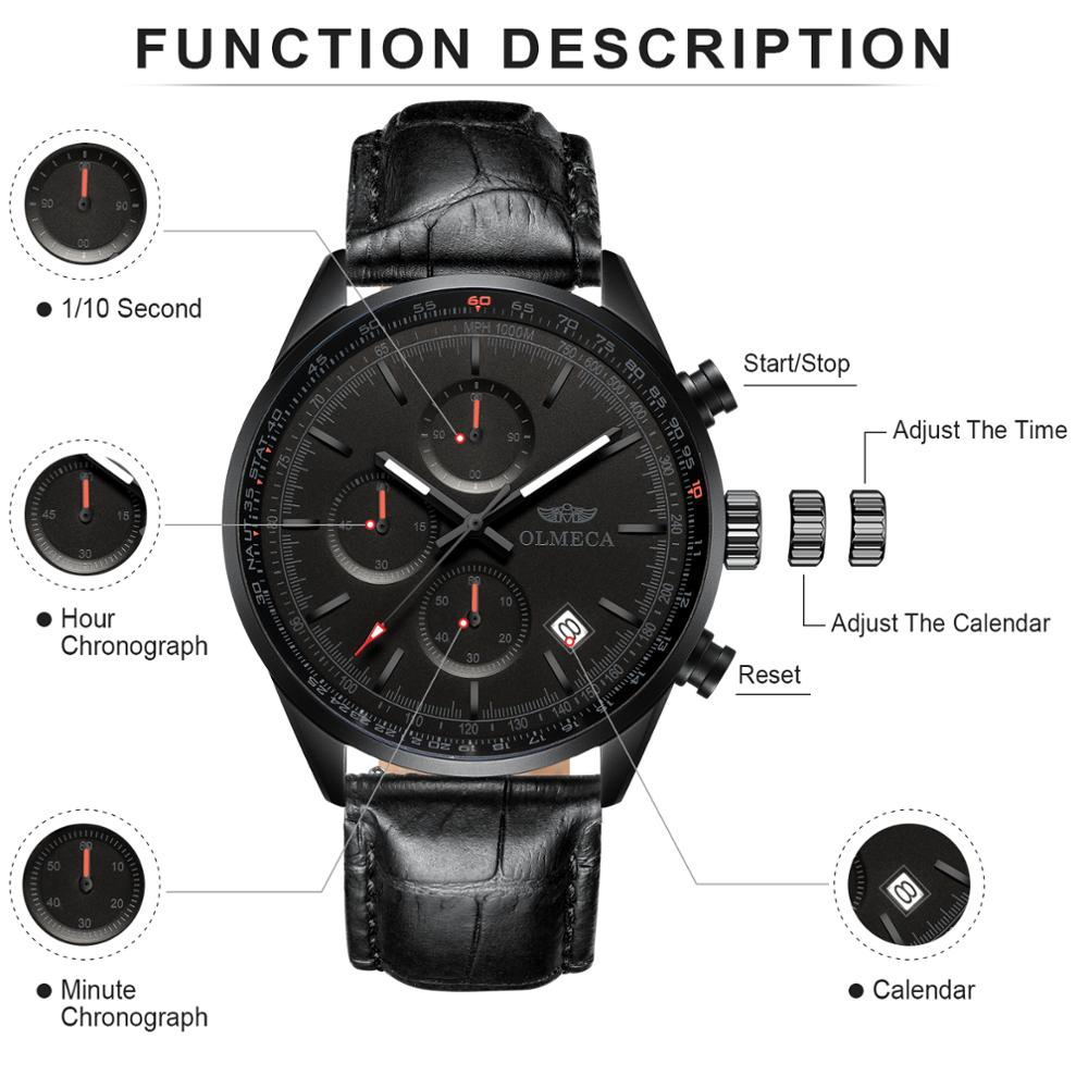 OLMECA Fashion Men's Watch Top Brand Quartz Watch Man Clock Chronograph Wristwatches Genuine Leather Relogio Masculino