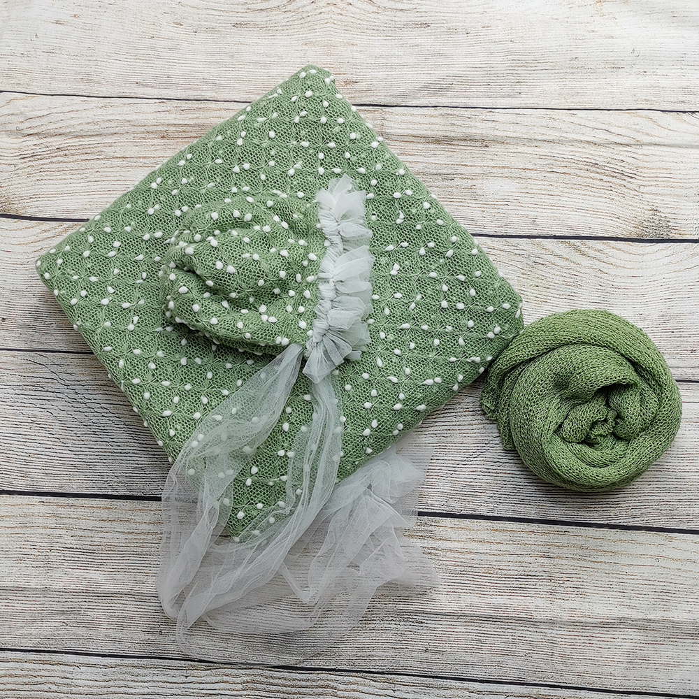 150*100cm Knit Bobble Wraps+Hair Accessories Baby Hat Lacework Headband+140*30cm Stretch Knit Wrap  for Baby Photography Props