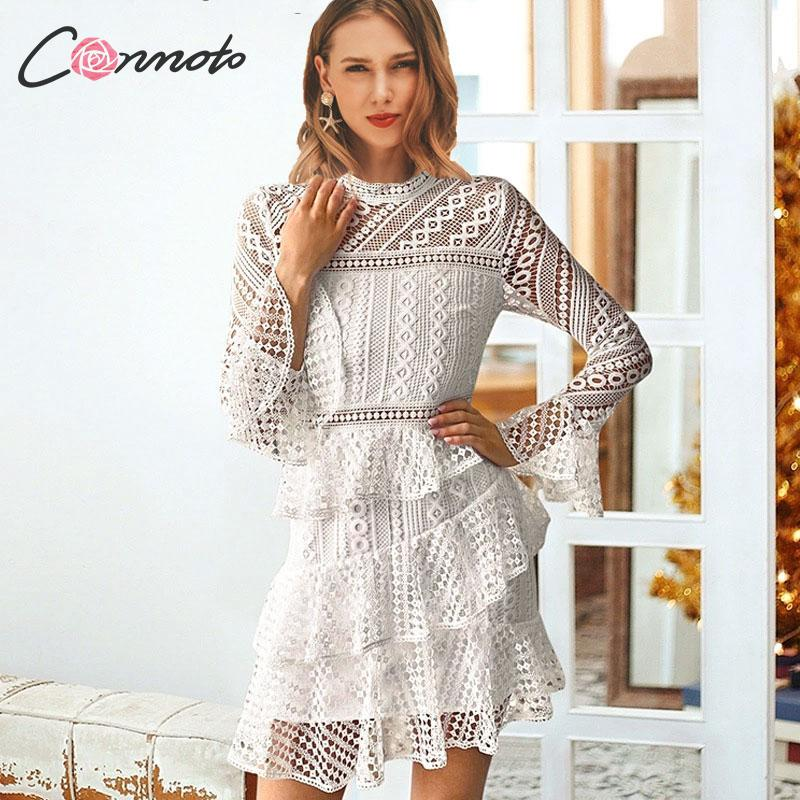 US $19.79 46% OFF|Conmoto elegant white lace dress women hollow out plus  size winter dresses for night ruffles ladies party dress vestidos-in  Dresses ...