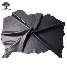Junetree couro de ovelha genuíno 0.5-0.9mm esconder l pele de ovelha 60x30cm 30x30cm macio preto cor couro artesanato safa saco