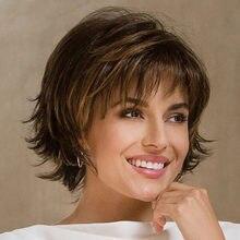 Caprichoso W mujeres sintético corto Natural Peluca de pelo marrón recto resistente al calor pelucas para mujeres