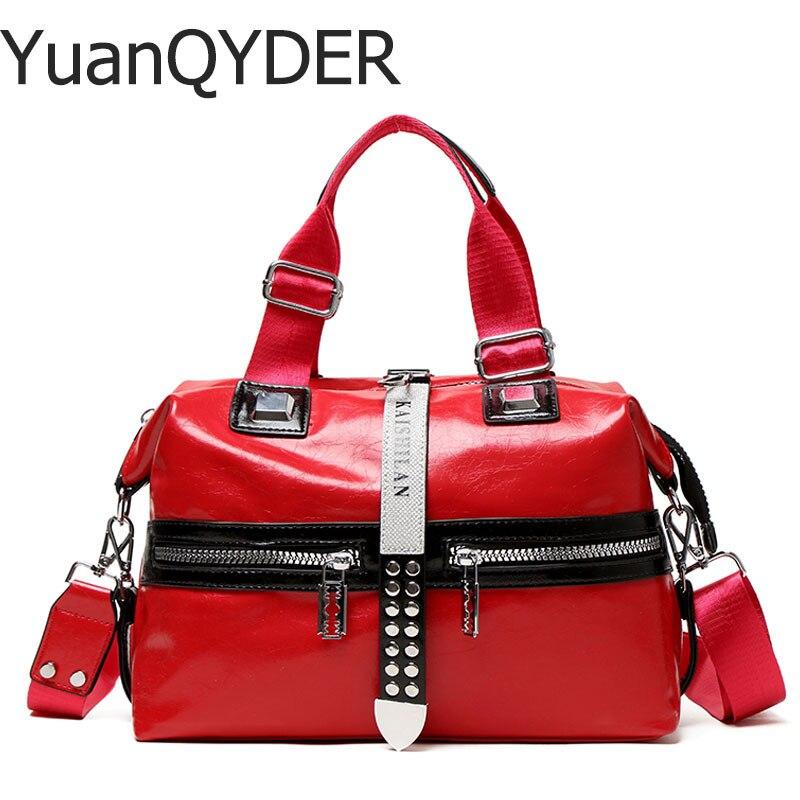 Rivet Women Leather Handbag New 2019 Fashion Silver/Black Women Messenger Bags Female Rivet Shoulder Handbag Casual Big Bags