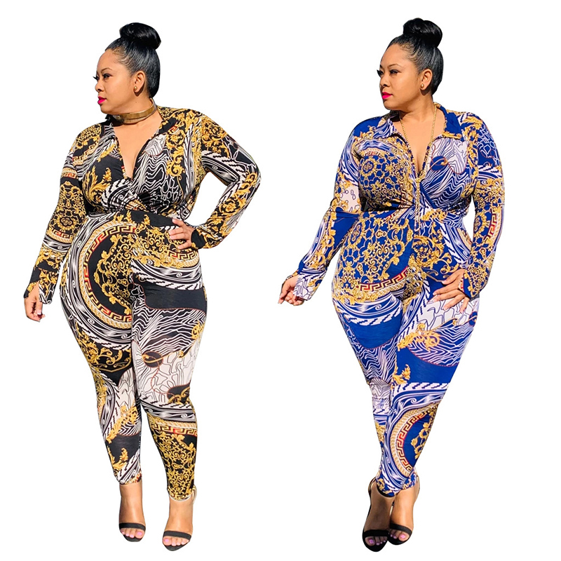 Autumn Plus Size 2 Piece Set Women V Neck Long Sleeve Playsuit And Slim Pant Print Casual Two Piece Sets Wholesale Dropshipping