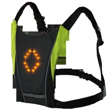Black Led Wireless Cycling Vest 20L Mtb Bike Bag Turn Signal Led Light Vest Bicycle Night 3 Meters Warning With Remote lucky bag with zanflare b3 3 led bike light