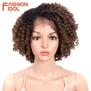FASHION IDOL Bob Cosplay Wig Afro Kinky Curly Lace Front Wigs For Black Women 12Inch Synthetic Wig Baby Hair Fiber Free Shipping free shipping red hair kinky curly synthetic wig for black women 180 nsity lace front wigs heat resistant fiber