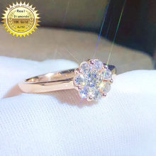 18k gold diamond ring Engagement&Wedding Natural Real Diamond Ring Jewellery have certificate(China)