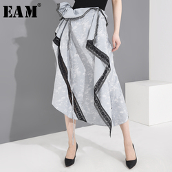 [EAM] High Waist Drawstring Lace Three-dimensional Irregular Half-body Skirt Women Fashion Tide New Spring Autumn 2020 1T90805