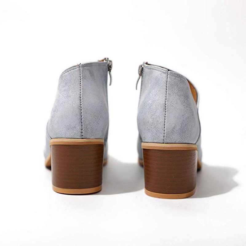 2019 Yeni Kadın Şık Sonbahar Kadın Ayakkabı Retro Yüksek Topuk yarım çizmeler Kadın Blok Orta Topuklu Rahat Botas Mujer Patik Feminina